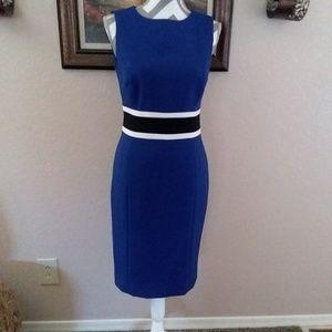 Blue Black Sleeveless Contrast Trim Sheath Dress 4